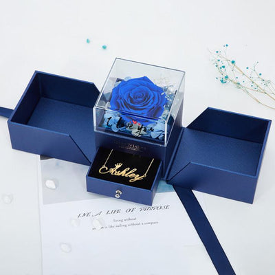 King of Value - Valentine's Day Gift Box Everlasting Roses Box With One Name Necklace