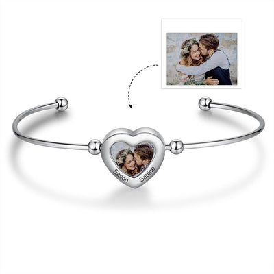 JewelOra Customize Memory Photo Cuff Bangles for Women Cute Heart Stainless Steel Engraving Name Adjustable Bracelets & Bangles