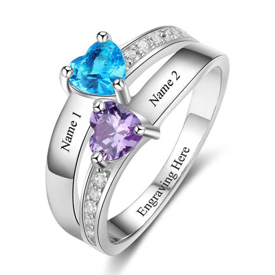 2 Heart Birthstone Ring Personalized Custom Engrave Names Promise Rings 925 Sterling Silver Jewelry