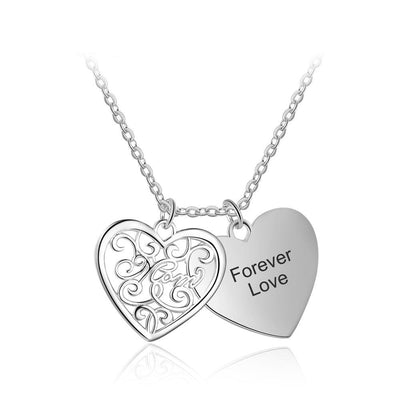 Double Layer Pattern Heart Personalized Engrave Name Necklace Heart To Heart Set Couple Necklace Family Gift
