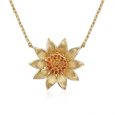 Gold color Sunflower Necklace with Clear CZ Elegant Ladies Cubic Zirconia Paved Pendant Necklace Wedding Gifts