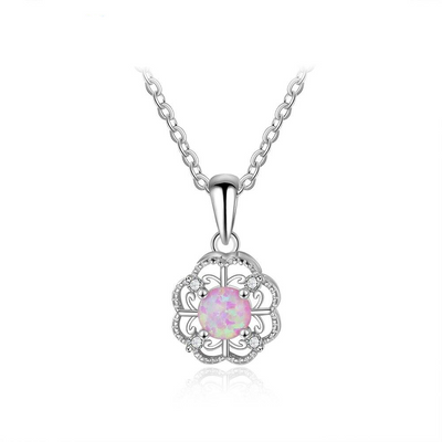 Hollow Out Flower Pink Opal Necklace Fine Jewelry 925 Sterling Silver Necklaces & Pendants