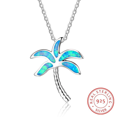 New Arrival Coconut Tree Blue Opal Pendants & Necklace With Genuine 925 Sterling Silver Jewelry