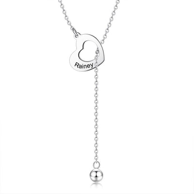 Special Design Hollow Heart Penetrating Tassel Chain Free Name Engraving Necklace Anniversary Gift