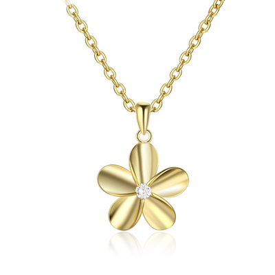 Spring Collection Lovely Golden Flower Pendant Elegant Flower Necklace with Zirconia Daily Wear