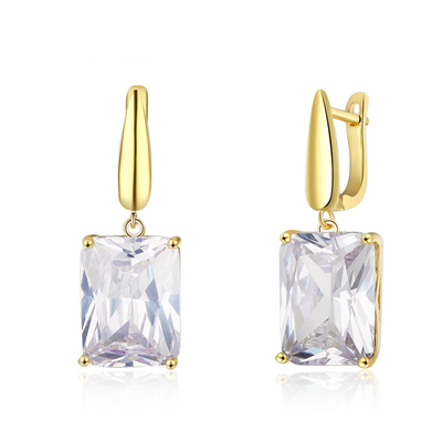 Square Cubic Zirconia Drop Earring Gold Color Fashion Party Earrings For Women Best Gift For Her
