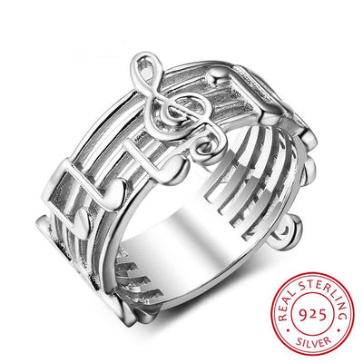 New 925 Sterling Sliver Rings for Women with Musical Note Pattern Music Lover's Band Ring Fashion Jewelry Gift