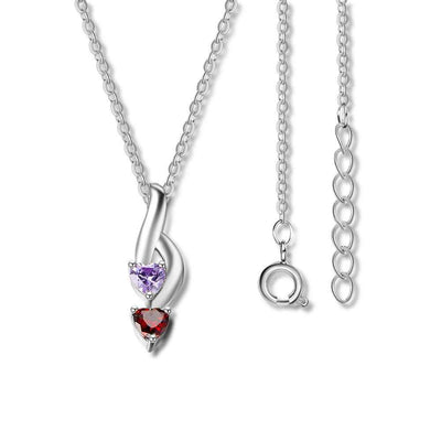 NEW Personalized 925 Sterling Silver 2 Birthstone Necklace Pendants Mom Girlfriend  Birthday