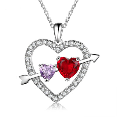 Personalize Necklace Heart Pendant Fashion Cublic Zircone Women Jewelry Customize Birthstone Anniversary Gift for Lover