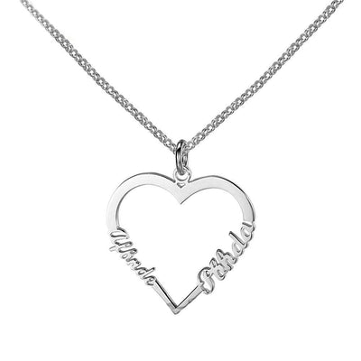 Personalized 925 Sterling Silver Heart Shape Custom Made Name Necklace 3 Color Lovers Gift for Girlfriend