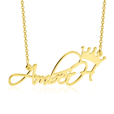 Personalized Adjustable Princess Crown Name Necklace