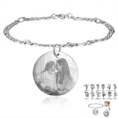 Personalized Birth Flower Bracelets for Women Stainless Steel Custom Photo Engraved Names Chain Bracelet Gifts for Her