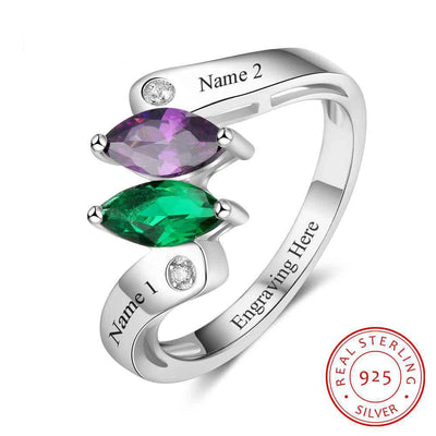 Personalized Birthstone Custom Engrave 2 Names Promise Rings For Women 925 Sterling Silver Anniversary Gift