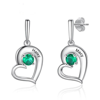 Personalized Birthstone Tilted Heart Drop Earrings for Women Couple's Custom Name Engraved Stud Earrings