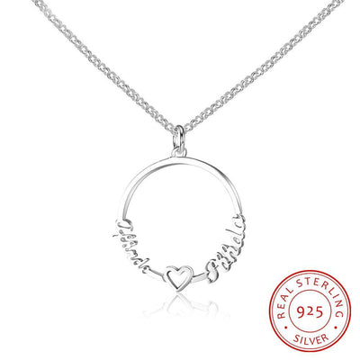 Personalized Custom 2 Names Necklace for Women 925 Sterling Silver Circle Necklace with Heart Fine Jewelry