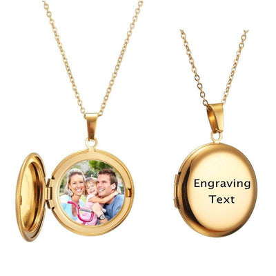 Personalized Customized Pendant Necklace Circle Photo Locket Engraving Name/ Date Copper Custom Photo Necklace