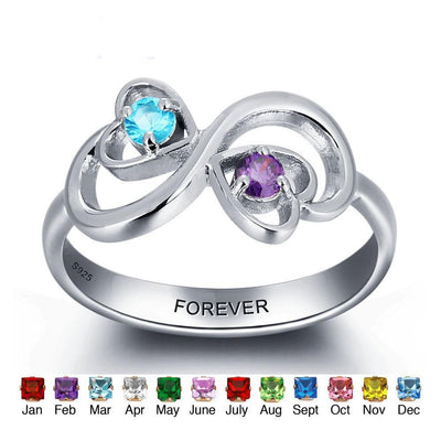 Personalized Engrave Birthstone Jewelry Heart Stone Name Ring 925 Sterling Silver infinity Love Rings