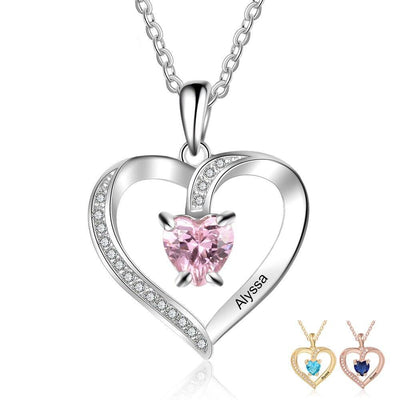 Personalized Engrave Name Heart Pendants with Zirconia Customize Birthstone Necklaces for Women Mother's Day Gift