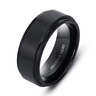 Personalized Engrave Name Rings for Men Black Stainless Steel Ring Fashion Male Jewelry Gift for Husbands