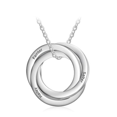 Personalized Engraved 3 Names Necklaces for Women Stainless Steel Circles Necklaces & Pendants Custom Family Gifts