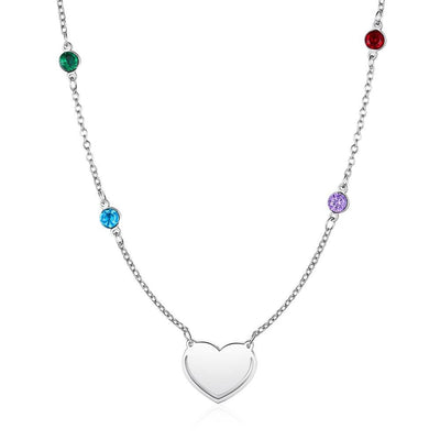 Personalized Engraved Heart Necklace with Multi Color Birthstones Stainless Steel Necklace for Women Choker Jewelry Gift for Her