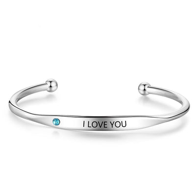 Personalized Engraved Name Bracelets for Women Custom Birthstone ID Bracelets Bangles Stainless Steel Jewelry