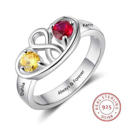 Personalized Infinity Ring with 2 Birthstones Custom Name 925 Sterling Silver Promise Rings for Women Gift