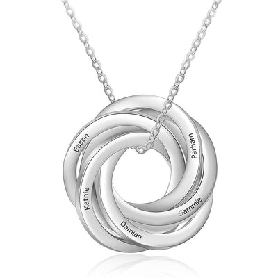Personalized Intertwined Circles Engraved Necklace Customized 5 Family Names Stainless Steel Pendants for Women Girls