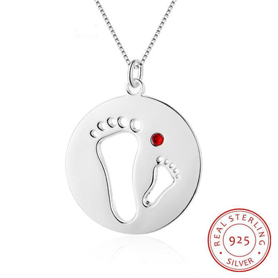 Personalized Jewelry Footprint Necklace with Birthstone 925 Sterling Silver Necklaces & Pendants Gift for Her