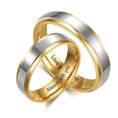 Personalized Jewelry Gold-color Stainless Steel Couple Rings for Women Men Customized Engraving Name Promise Ring for Lovers