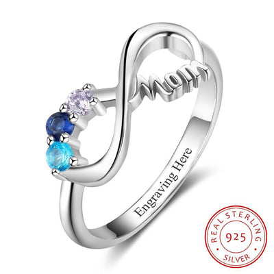 Personalized Mothers Rings with 3 Birthstones Custom Inner Engraving Infinity 925 Sterling Silver Rings for Women Mom