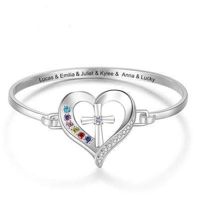 Personalized Name Bracelet with 6 Simulated Birthstones Engraved Mother Children Names Cross & Heart Bangles for Women