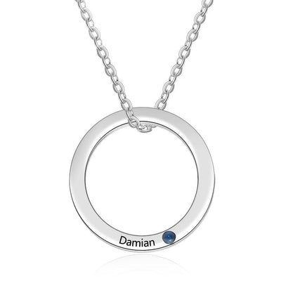 Personalized Name Engraved Necklace Custom Birthstone Circle Pendant Stainless Steel Jewelry Gift for Women