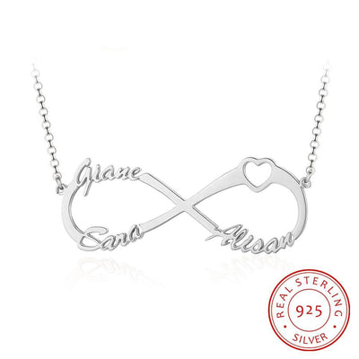 Personalized Name Necklace 925 Sterling Silver DIY Heart Letter Necklaces & Pendants Unique Birthday Gift