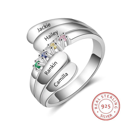 Personalized Name Ring with 4 Birthstones 925 Sterling Silver Mother Ring Customized Family Gift for Women