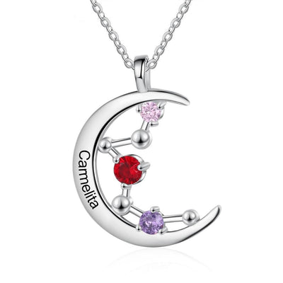 Personalized Necklace Constellation Moon Pendant for Women Customized 3 Birthstones Silver Color Jewelry