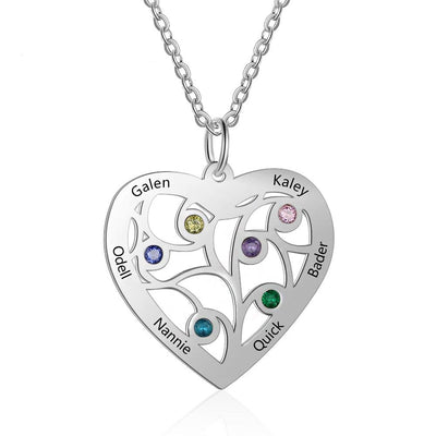 Personalized Tree of Life Heart Necklace with 6 Birthstones Engraved Family Names Stainless Steel Pendant Jewelry Gift