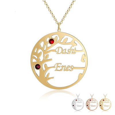 Personalized Tree of Life Necklace with 2 Birthstones Custom Name Couple Pendants for Women Birthday Gifts for Her