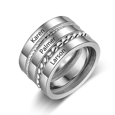 Personalized Wide Stackable Rings for Women Custom 3 Names Family Ring Female Jewelry Accessories BFF Gift