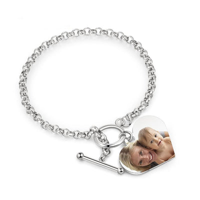 Personalized Custom Photo Heart Bracelets for Women Stainless Steel Chain Cuff Bracelet Engraving Jewelry Gifts for Her
