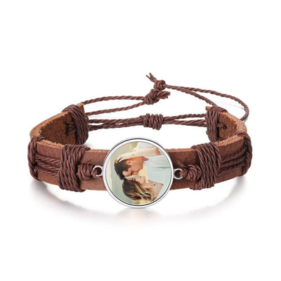Personalized Photo Leather Bracelets Fashion Charm Braided Rope Brown Bangle Customize Adjustable  Jewelry Gift for Men
