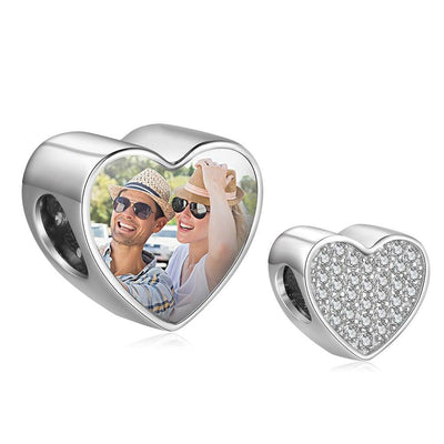Custom Photo Beads Fit Bracelets Personalized Full Cubic Zirconia Paved Heart Charms for Girls DIY Jewelry