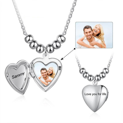 Customized Photo Heart Locket Necklaces for Women Personalized Engraving Name Stainless Steel Pendant Anniversary Gifts