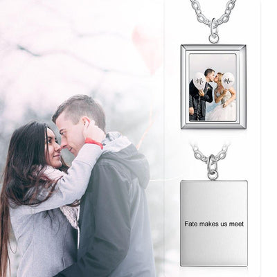 Customized Photo Necklace Rectangle Pendant Engrave Name Wedding Photo Jewelry Stainless Steel Simple Gift for Women