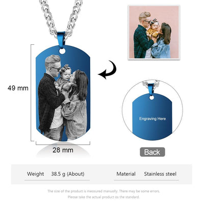 Customized Photo Necklaces for Men Black Blue Color Stainless Steel Engraved Calendar Necklace Personalized Gifts for Boyfriend