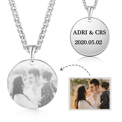 Customized Photo Round Pendant Necklace Stainless Steel Engraving Name Necklaces Personalized Gifts for Men Family