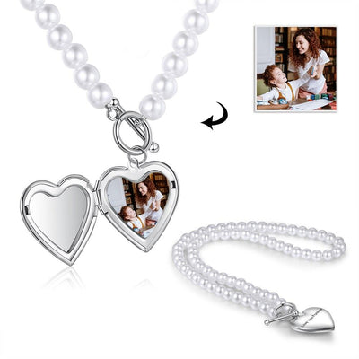 Personalized Engraving Pearl Necklace Custom Photo Stainless Steel Heart Locket Necklace Pendant Valentine's Day Gift