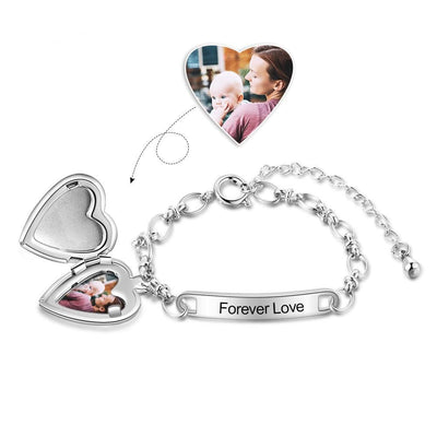 Personalized Name Anklet Custom Photo Baby Girl with Heart Locket Charms Stainless Steel Name Engraved Anklet