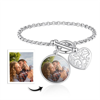 Personalized Photo Bracelets for Ladies Stainless Steel Heart Jewelry Engrave Name Charm Bangle Birthday Gift for Women