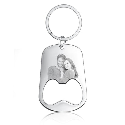 Personalized Stainless Steel Photo Keychain Customized Engraving Keyring Bottle Opener keychains for Men Ladies